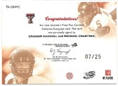 2009 Press Pass SE Dual Teammates Autograph card of Michael Crabtree & Graham Harrell #7/25 Back