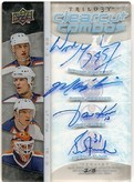 2008/09 UD Trilogy Clear Cut Combos Quad Auto of Wayne Gretzky, Mark Messier, Jarri Kurri & Grant Fuhr #3/5