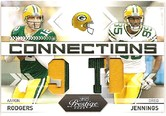 2009 Playoff Prestige Dual Patch Card of Aaron Rodgers & Greg Jennings #20/25